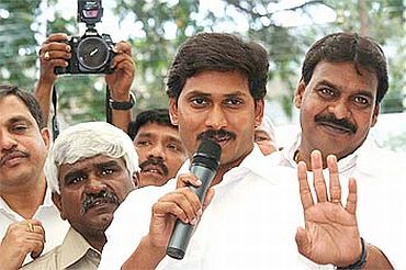 File photo shows Jagan addressing his supporters in Hyderabad