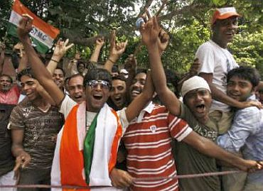 Trinamool activists at a rally