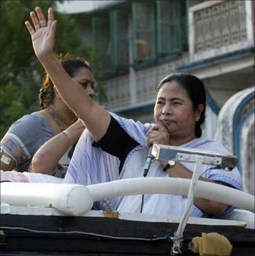 Trinamool Chief Mamata Banerjee addresses a public rally