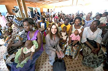 France's first lady Carla Bruni-Sarkozy at a medical center in Ouagadougou, Burkina Faso