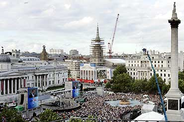 Crowds gather at the Trafalgar Square in London