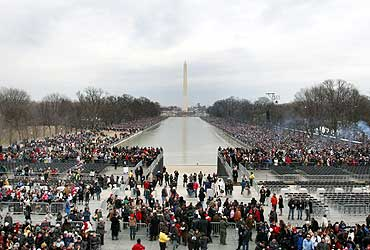 Crowds gather near the Washington Monument in Washington DC