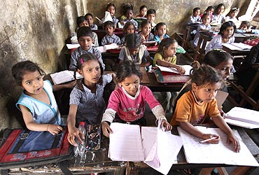 Students at a government-run school in Jammu