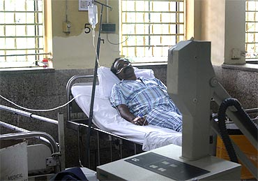 An affected person at the hospital