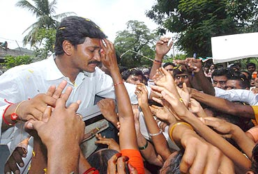 Jagan with his supporters in East Godavari district