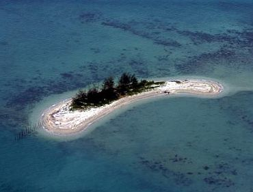 An unnamed island in Riau province, Indonesia, that is at risk of being swallowed by the sea
