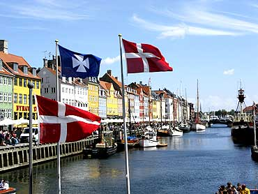 The Nyhavn canal, part of the Copenhagen Harbour, in Denmark