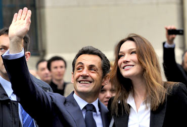 French President Nicolas Sarkozy with wife Carla Bruni