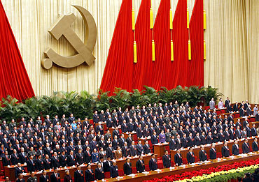 Communist leaders and delegates at the 17th Party Congress in Beijing, 2007