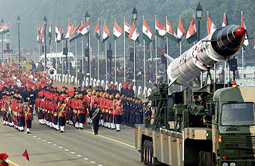 The Indian army showcases the Agni missile during the Republic Day parade in New Delhi