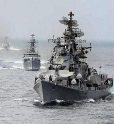 Indian naval ships taking part in an execise in the Indian Ocean