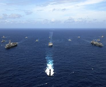 File photo shows naval ships from India, Australia, Japan, Singapore and the United States sailing in formation in the Bay of Bengal during Exercise Malabar 07