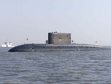Indian Navy submarine INS Sindhurakshak (S 63) at anchorage off Mumbai