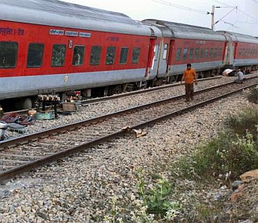 The derailed Rajdhani Express