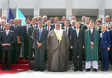 A group photograph of the delegates attending the conference on Afghanistan in Kabul on July 20, 2010. Foreign Minister SM Krishna is to the extreme left