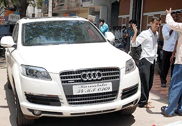 An Audi, one of the many high-end cars owned by the Reddy brothers