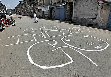 The street graffiti in Srinagar says it all about how the valley feel