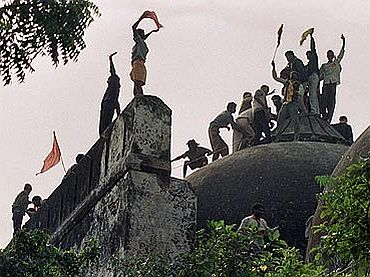 File photos of the Babri Masjid demolition
