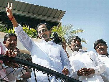 TRS chief K Chandrasekhar Rao waves to his supporters