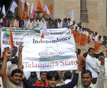 A march in support of Telangana