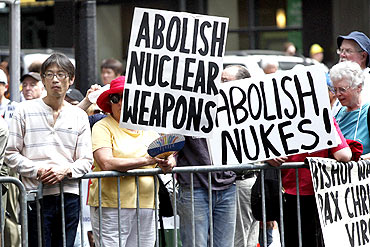 Demonstrators at an anti-nuclear weapons protest rally in New York