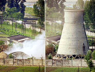 A combination pic shows a cooling tower and the site after it was demolished at a N Korean N-plant