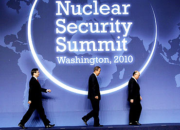 Israel's Minister of Atomic Energy Dan Meridor at the nuclear summit in Washington