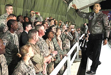 US President Barack Obama meets American troops at Bagram Air Base in Kabul