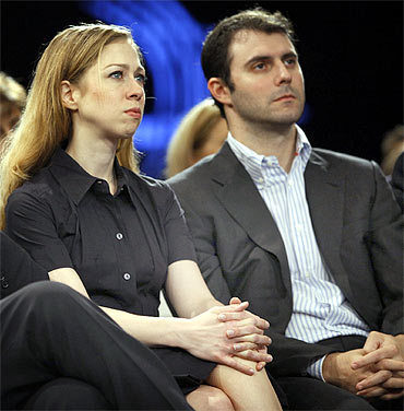 Chelsea with her fiance Marc Mezvinsky