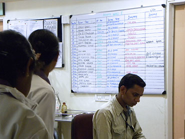 The hospital ward where the injured CRPF troopers undergo treatment. Their names are written on the white board