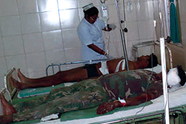 Injured personnel being treated in Jagdalpur, Chhattisgarh