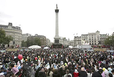 Thousands gather in Trafalgar Square in London to celebrate the festival of Eid al-Fitr