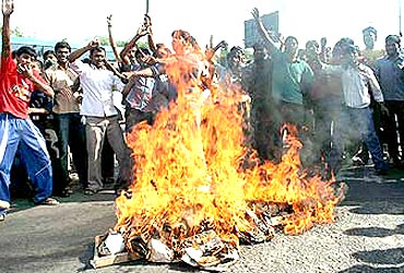 A file photo of protests by Telangana supporters