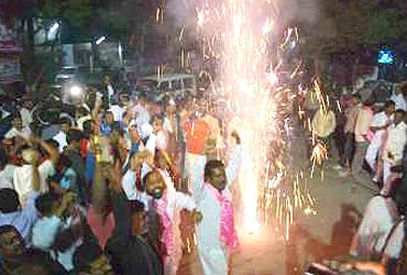 A file photo of Telangana supporters celebrating the Centre's decision to carve out a separate state
