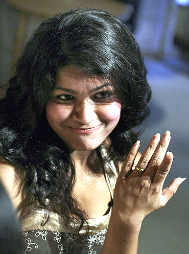 Nihita Biswas shows her engagement ring to the media in Kathmandu in 2008