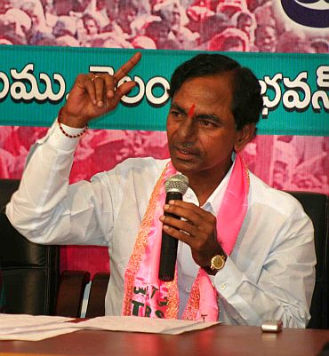 TRS chief K Chandrashekhar Rao addresses media persons after the poll results were announced