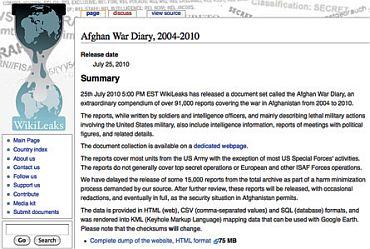 A screenshot the Afghan war leaks