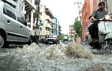 Merely an hour-long downpour was enough to turn the roads and streets into water-tanks