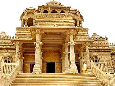 The magnificent temple has been built using the ancient temple architecture methods associated with Hinduism