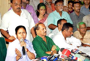 Trinamool Congress chief Mamata Banerjee addressesa press conference on Wednesday