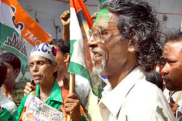 A Trinamool supporter in Kolkata