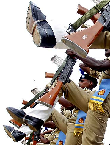 CRPF personnel at a passing out parade in Humhama near Srinagar.