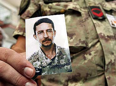 A photo of Italian army Sergeant Major Roberto Valente who was killed by a car bomb in Afghanistan