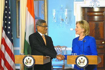 Secretary of State Hillary Clinton with Indian External Affairs Minister S M Krishna