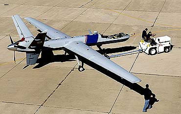 A MQ-9 Predator B moved to the tarmac for maintenance at Fort Huachuca, Arizona, US