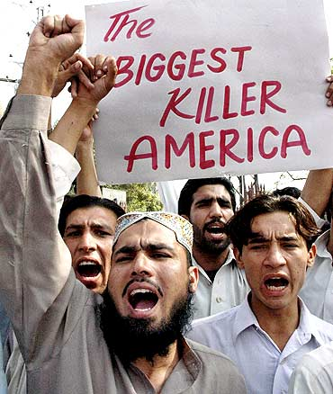 Activists protest against the US drone attacks that has 'ravaged' Pakistan