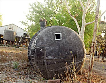 A few months after the tragedy, this underground tank which stored MIC was removed and thrown away