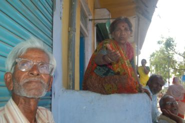 Jamunabai (right) and Sabir outside her shop in Bhopal