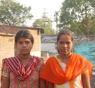 Sareeta, right, with her friend Nidhi