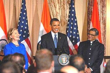 US President Barack Obama with US Secretary of State Hillary Clinton and External Affairs Minister S M Krishna at the inaugural US-India Strategic Dialogue in Washington, DC